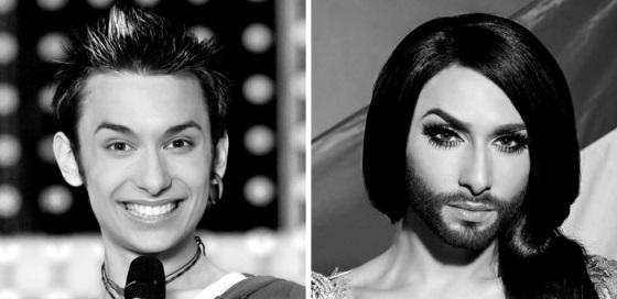 Conchita Wurst, chanteuse.  La barbe crédibilise le personnage, je trouve!