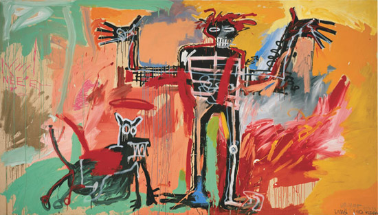 Boy and Dog in a Johnnypump (1982) by Jean-Michel Basquiat, via Fondation Beyeler.