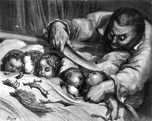 L'ogre s'apprête à tuer ses filles. Illustration par Gustave Doré pour Le Petit Poucet